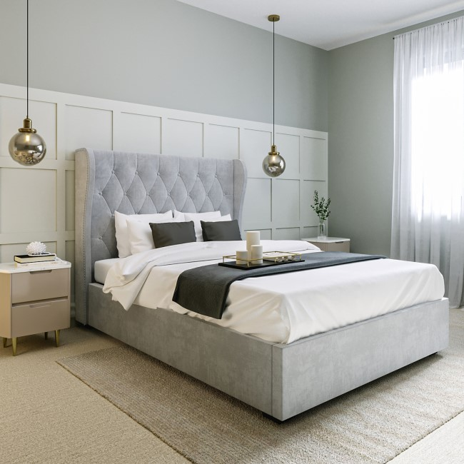 Safina Buttoned Wing Back Double Ottoman Bed in Grey Velvet