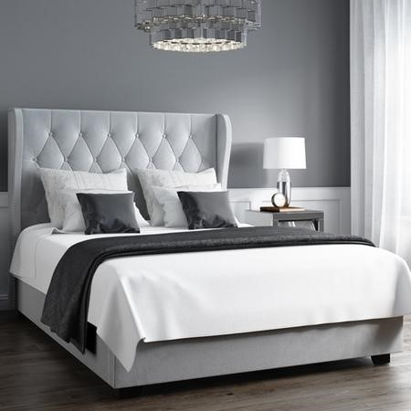 Safina Buttoned Wing Back Double Ottoman Bed in Silver/Grey Velvet