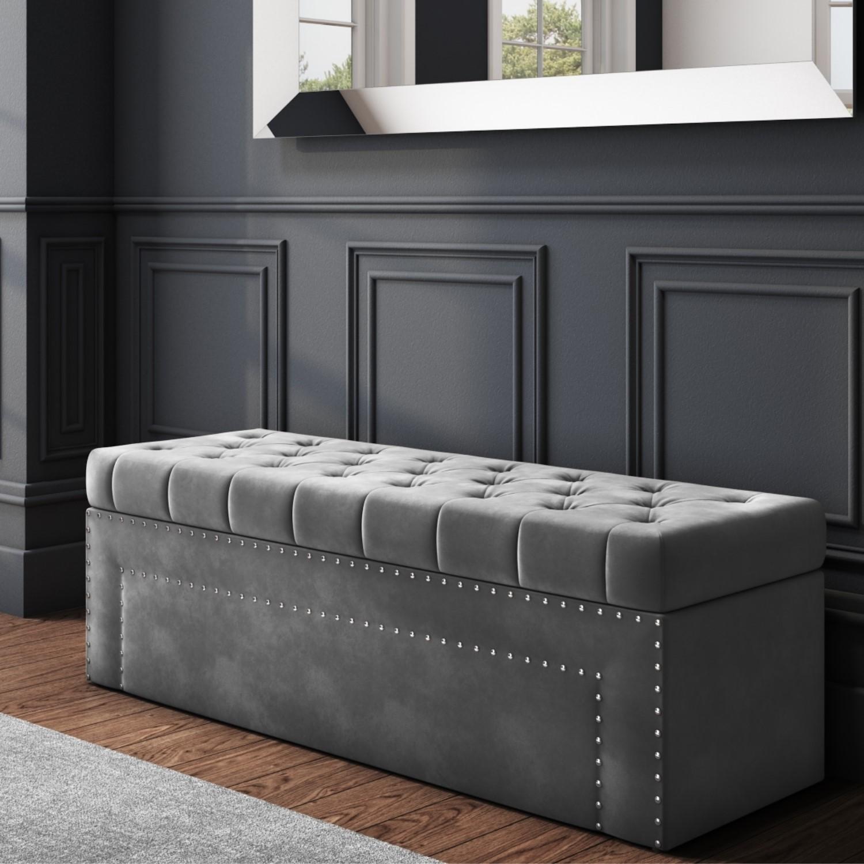 Safina Velvet Storage Blanket Box In Grey With Stud Detail