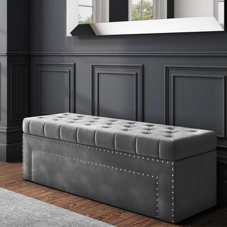Safina Velvet Storage Blanket Box in Grey with Stud Detail
