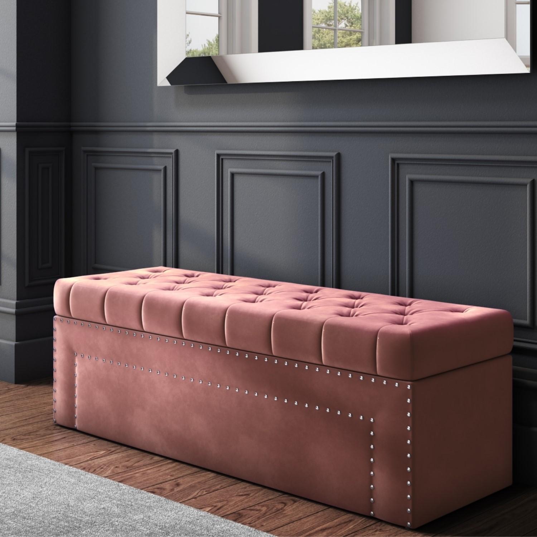 Safina Velvet Storage Blanket Box in Blush Pink with Stud Detail