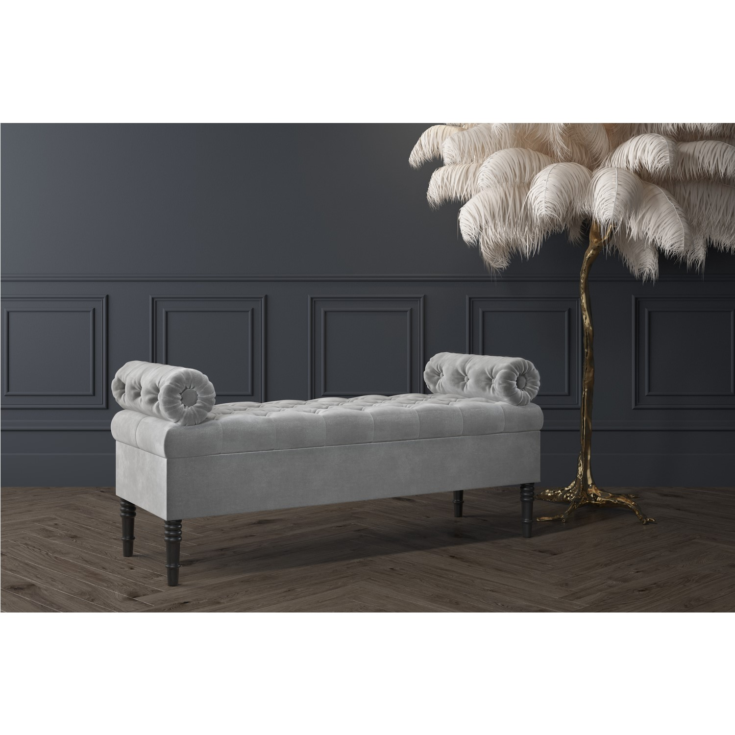 Picture of: Safina Ottoman Storage Bench In Grey Velvet With Bolster Cushions Furniture123