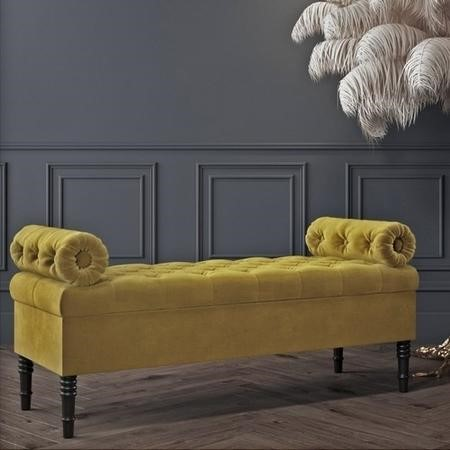 Safina Ottoman Storage Bench in Olive Green Velvet with Bolster Cushions