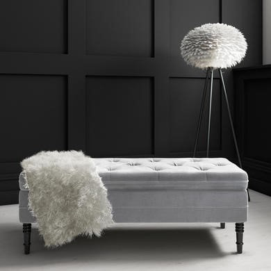 Safina Storage Bench in Grey Velvet