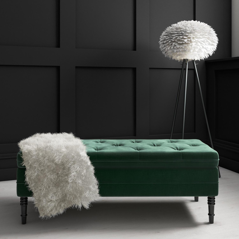 Safina Ottoman Storage Bench In Bottle Green Velvet With Button Detail Furniture123