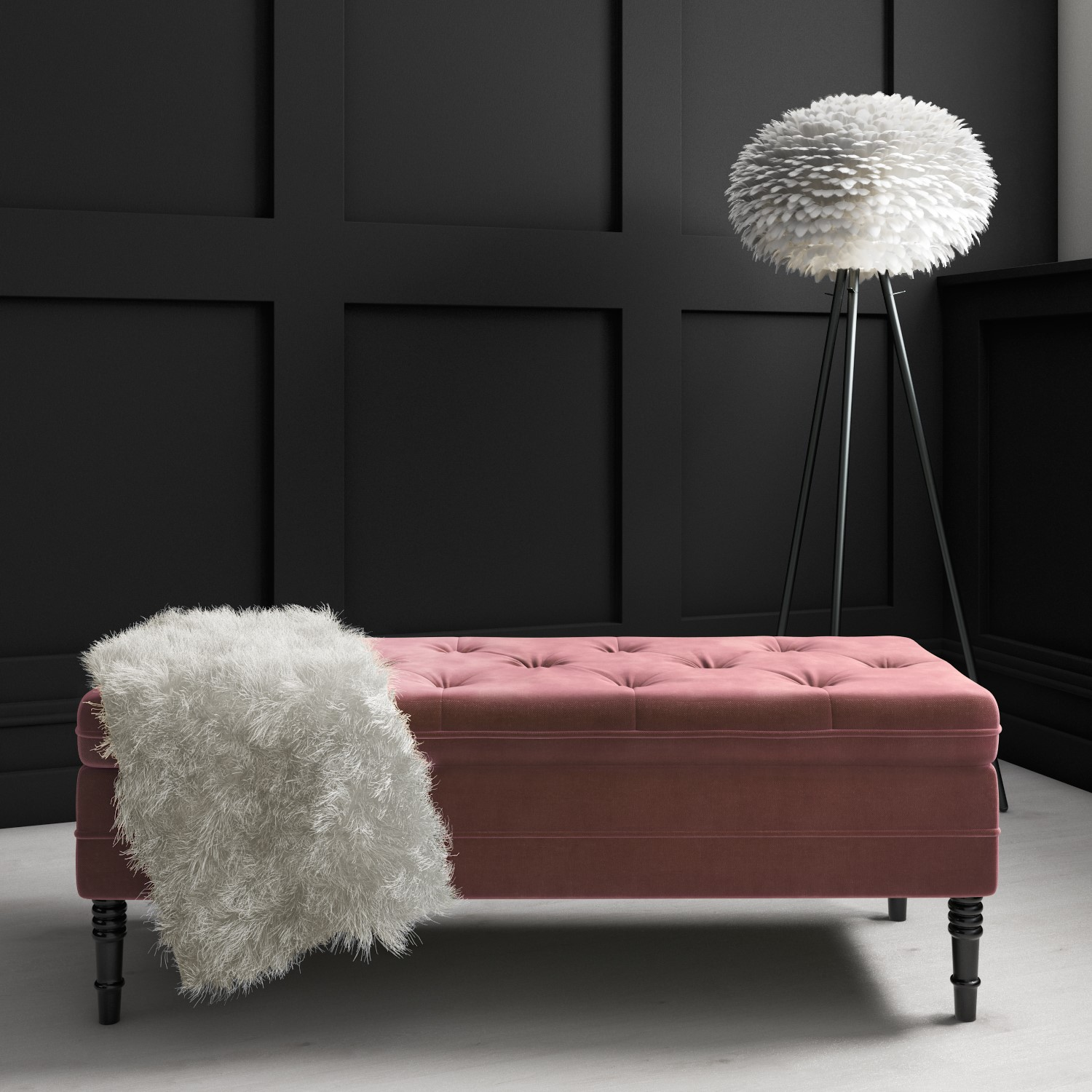 Safina Ottoman Storage Bench in Blush Pink Velvet with Button Detail
