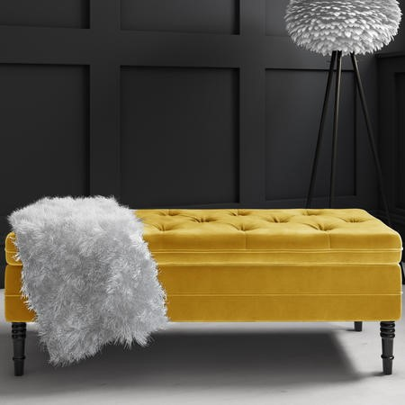 Safina Ottoman Storage Bench in Mustard Yellow Velvet with Button Detail