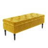 Safina Ottoman Storage Bench in Yellow Velvet with Button Detail
