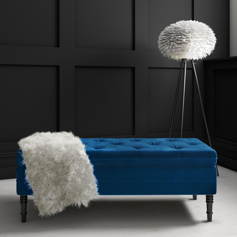 Safina Ottoman Storage Bench in Navy Blue Velvet with Button