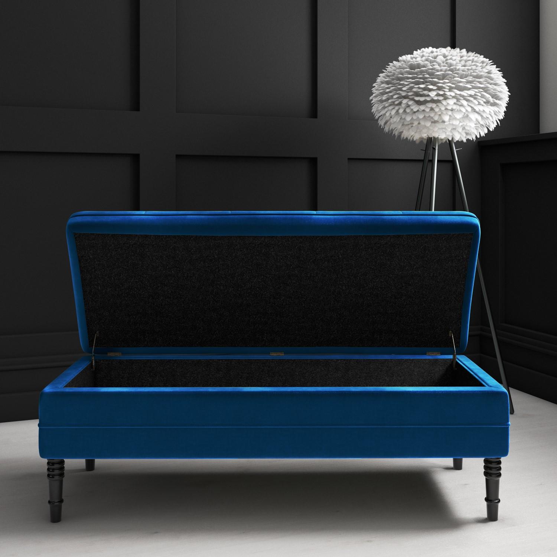 Safina Ottoman Storage Bench In Navy Blue Velvet With Button Detail Furniture123