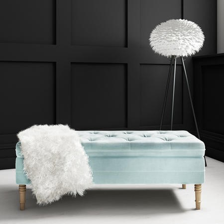Safina Hallway Storage Bench in Duck Egg Blue Velvet