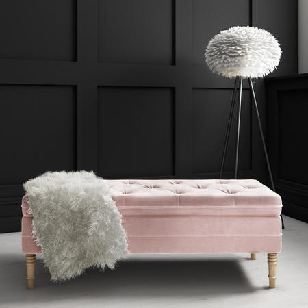 Safina Ottoman Storage Bench in Baby Pink Velvet with Button Detail