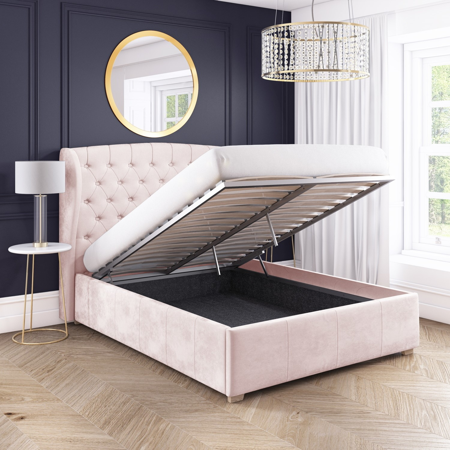 Superb Safina King Size Wing Back Ottoman Bed In Baby Pink Velvet Gmtry Best Dining Table And Chair Ideas Images Gmtryco