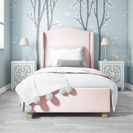 Safina Single Wing Back Bed in Baby Pink Velvet