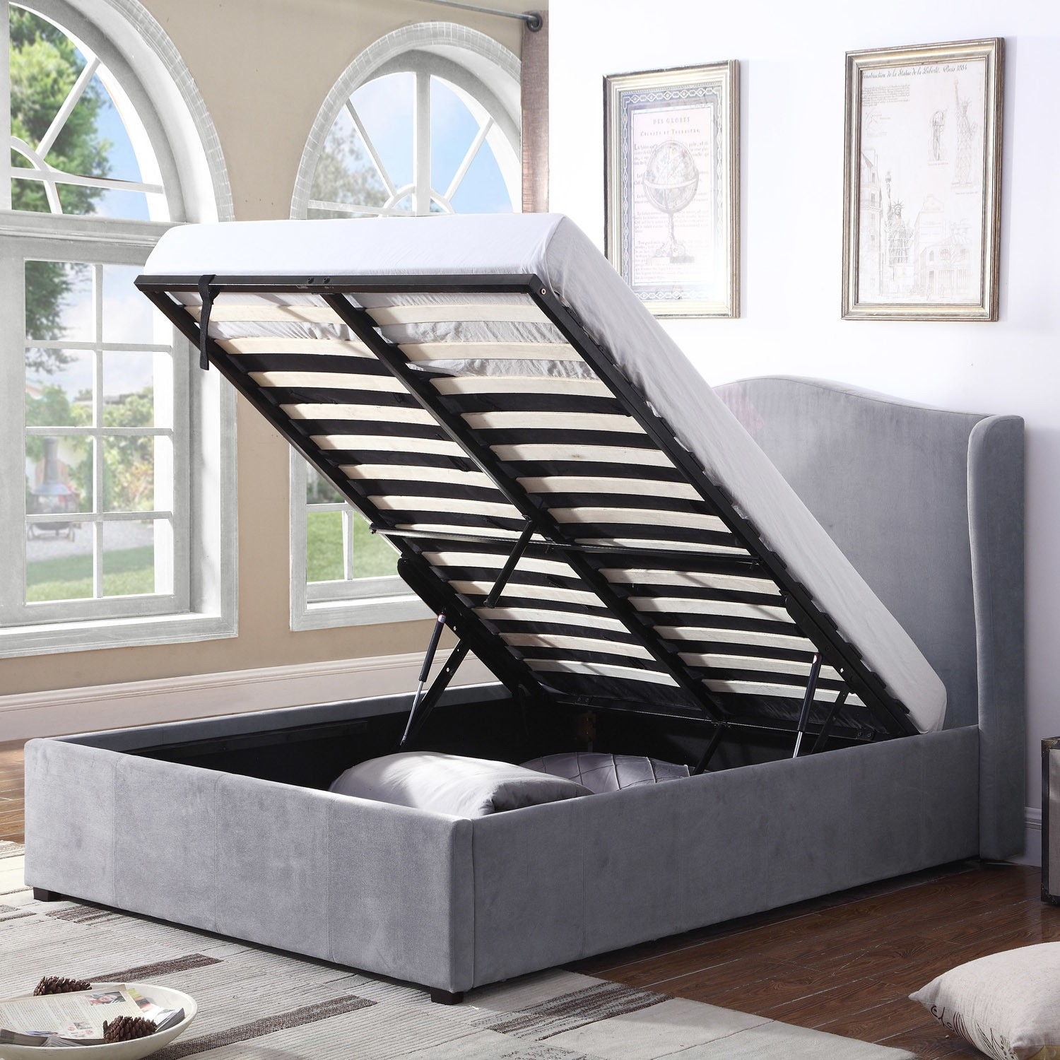 Super Grade A1 Safina Wing Back Double Ottoman Bed In Grey Velvet Theyellowbook Wood Chair Design Ideas Theyellowbookinfo