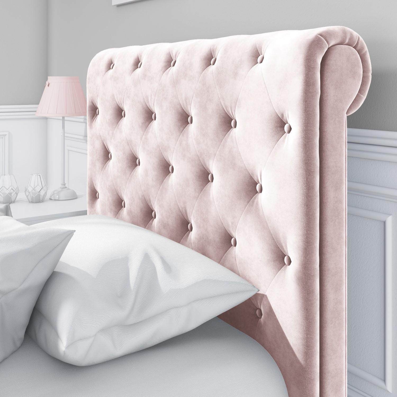 - Safina Roll Top Single Sleigh Bed In Baby Pink Velvet Furniture123