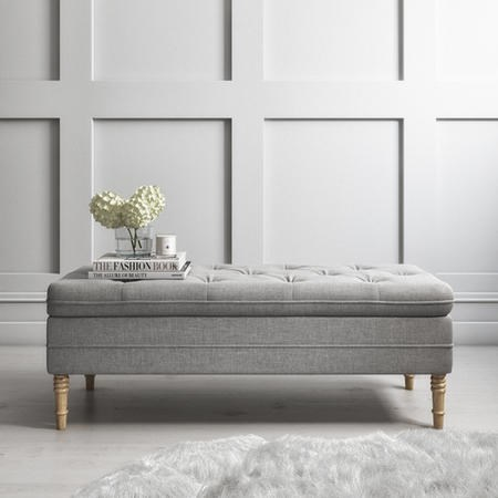 Safina Ottoman Storage Bench in Woven Light Grey Fabric