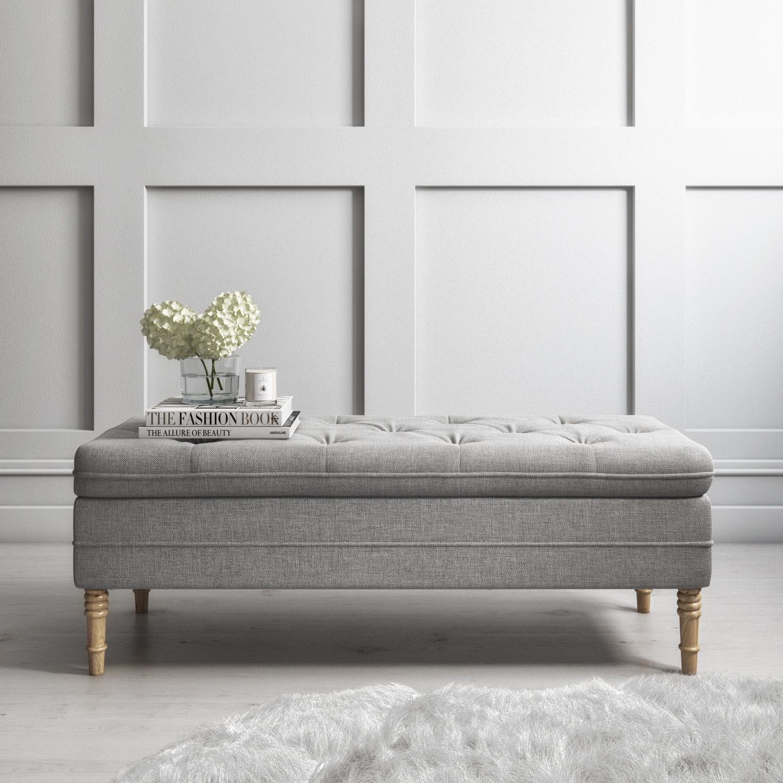 safina ottoman storage bench in woven light grey fabric