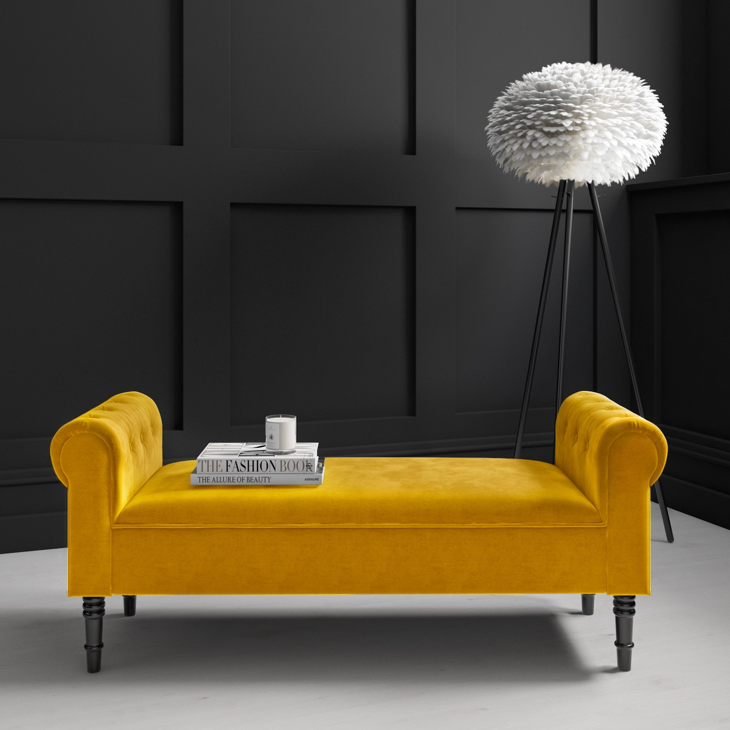 Safina Yellow Velvet Bench With Quilted Arm Rest Furniture123