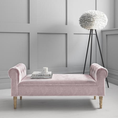 Safina Pink Velvet Hallway Bench with Quilted Arm Rest
