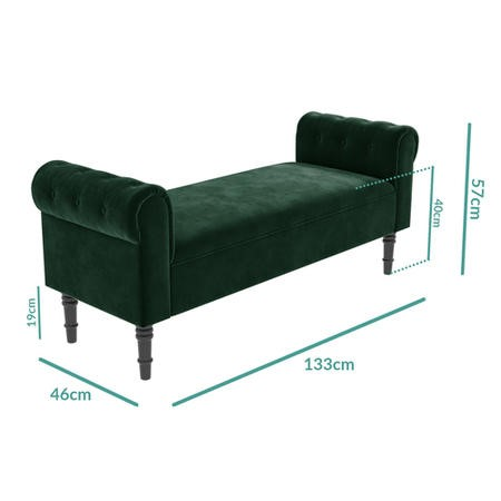 Safina Green Velvet Hallway Bench with Quilted Arm Rest