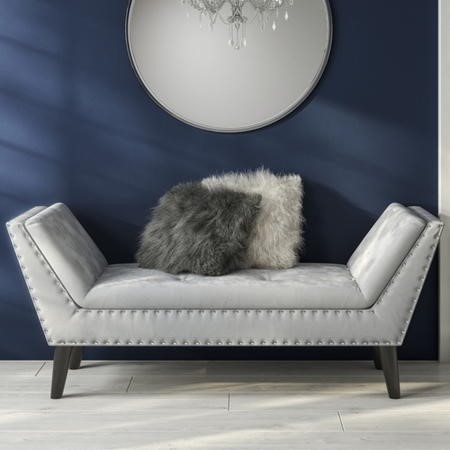 GRADE A1 - Safina Velvet Bench Seat with Stud Detailing in Light Grey