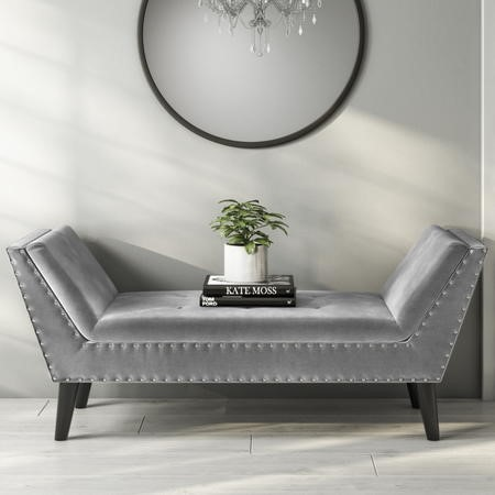 GRADE A1 - Safina Velvet Bench Seat with Stud Detailing in Dark Grey