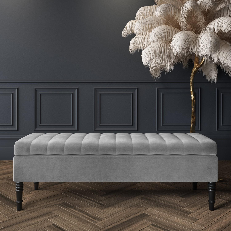Safina Striped Top Ottoman Storage Bench in Silver Grey Velvet