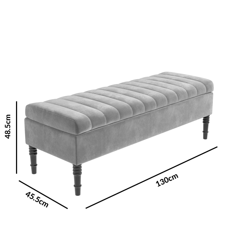 Admirable Safina Striped Top Ottoman Storage Bench In Silver Grey Velvet Inzonedesignstudio Interior Chair Design Inzonedesignstudiocom