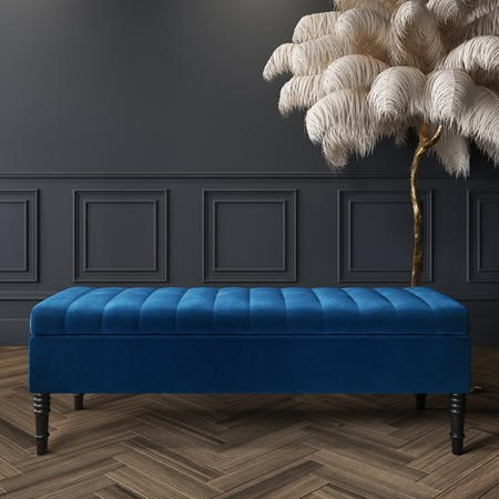 Safina Striped Top Ottoman Storage Bench in Navy Blue Velvet