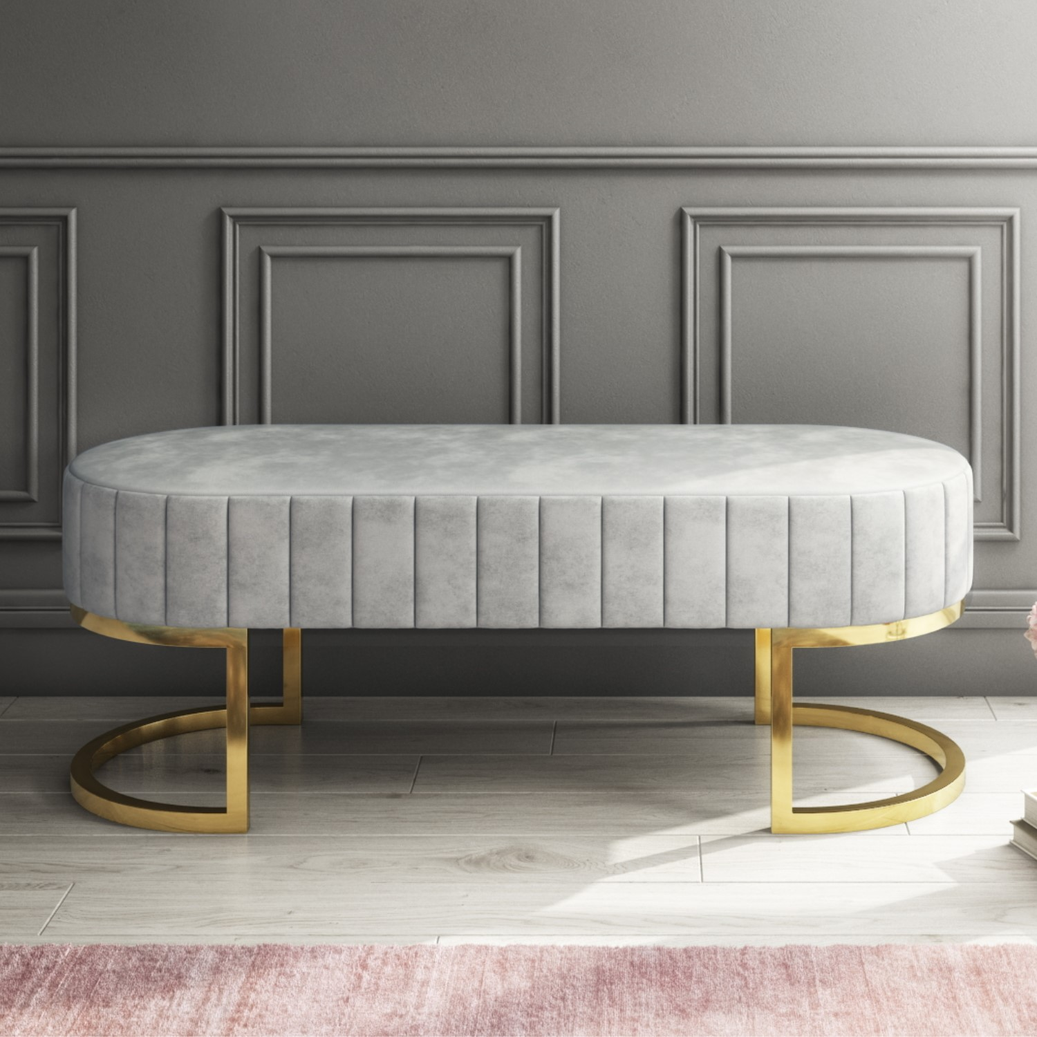 new arrival a8c3b 2f02f Safina Velvet Hallway Bench in Silver Grey with Gold Legs