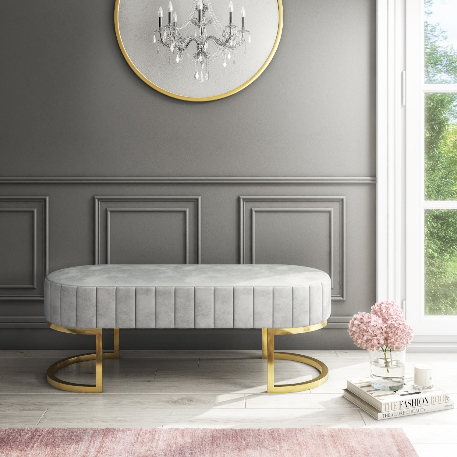 Grade A1 Safina Velvet Bench In Silver Grey With Gold Legs Furniture123