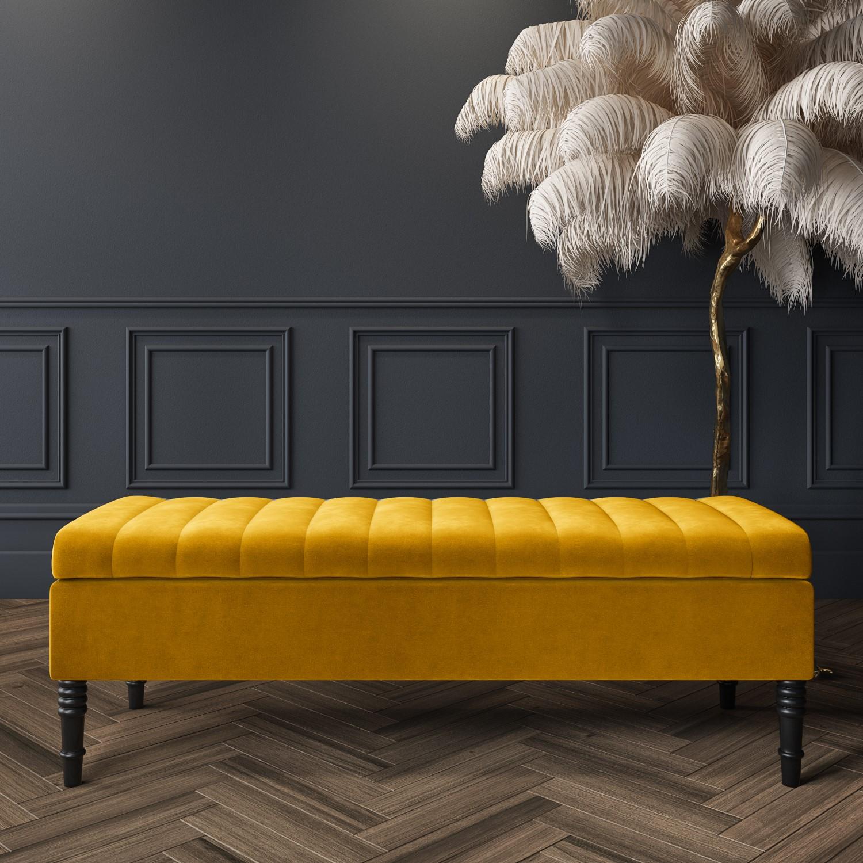 Safina Striped Top Ottoman Storage Bench in Yellow Velvet