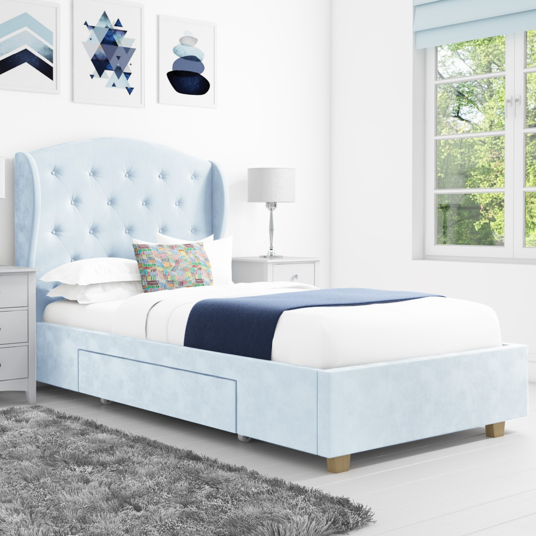 Safina Wing Back Single Bed In Baby Blue Velvet With Underbed Drawer Furniture123