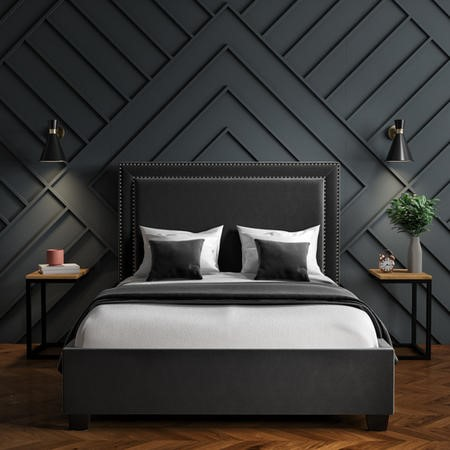 Safina Studded Velvet Double Ottoman Bed in Dark Grey