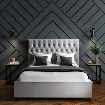 Safina Small Double Ottoman Bed in Silver Grey with Quilted Button Headboard