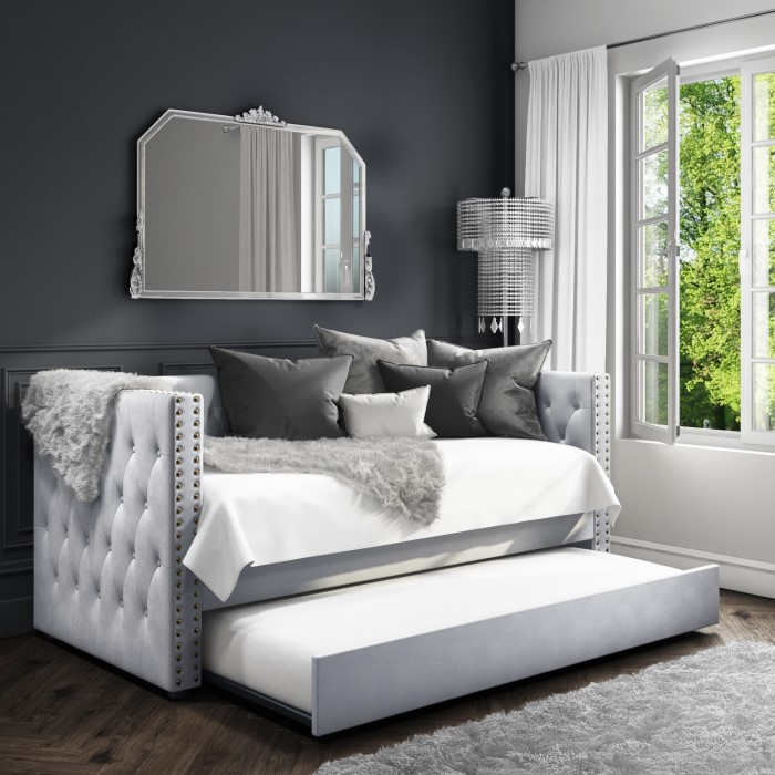 Day Bed.Sacha Velvet Day Bed In Silver Grey Trundle Bed Included