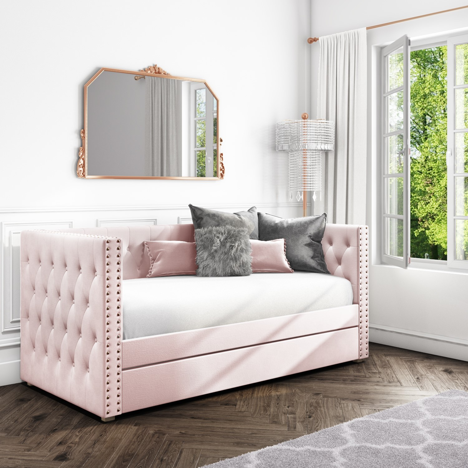 Sacha Velvet Day Bed in Baby Pink - Trundle Bed Included