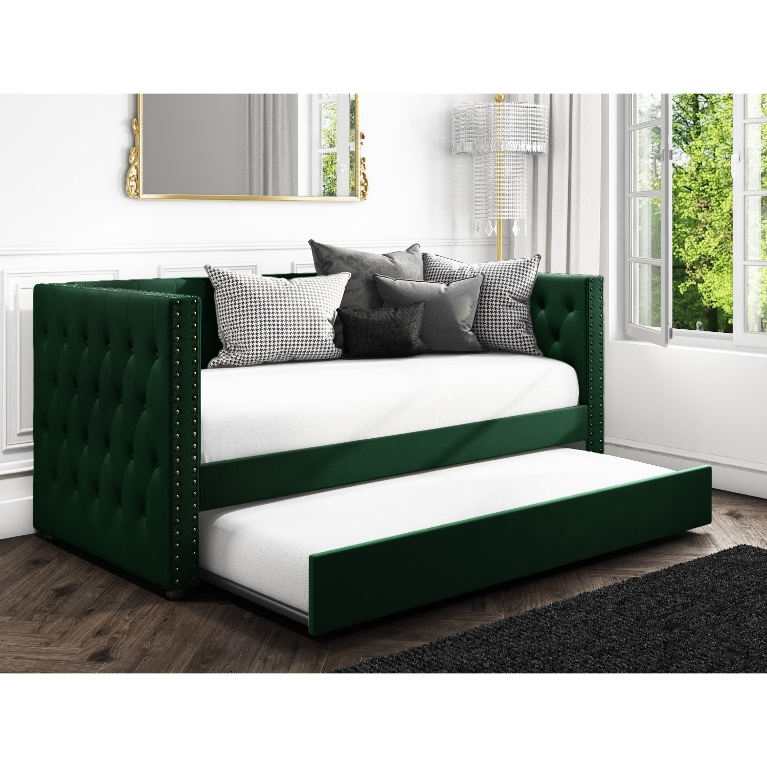 Phenomenal Sacha Velvet Sofa Bed In Bottle Green Trundle Bed Included Machost Co Dining Chair Design Ideas Machostcouk