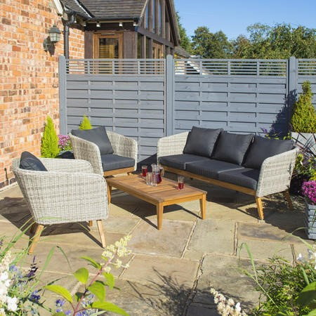 Rowlinson Light Rattan Garden Sofa Set with Dark Grey Cushions – Saigon Range