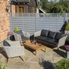 Rowlinson Light Rattan Garden Sofa Set with Dark Grey Cushions - Saigon Range