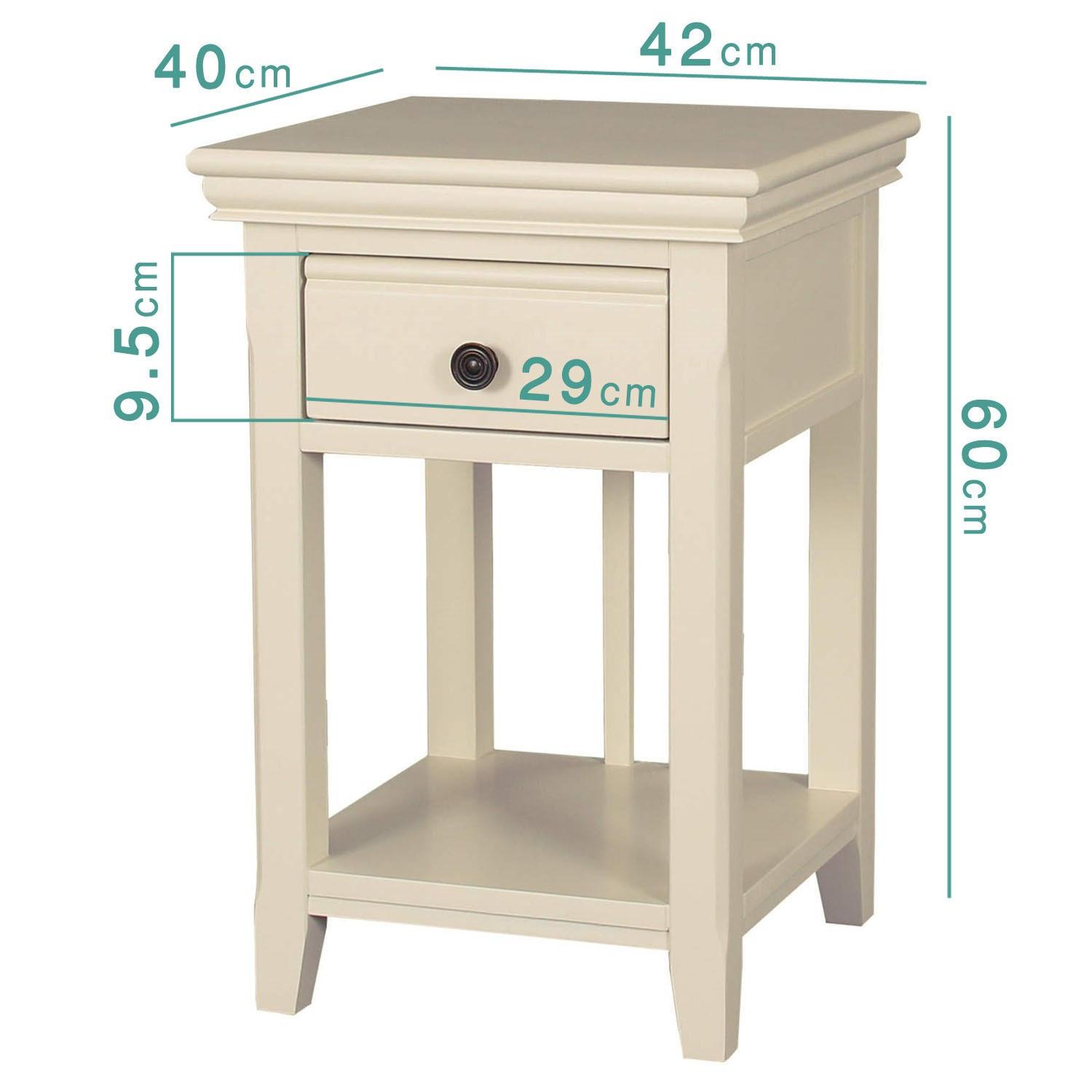 Savannah Bedside Table With Drawer In Ivory Cream Furniture123