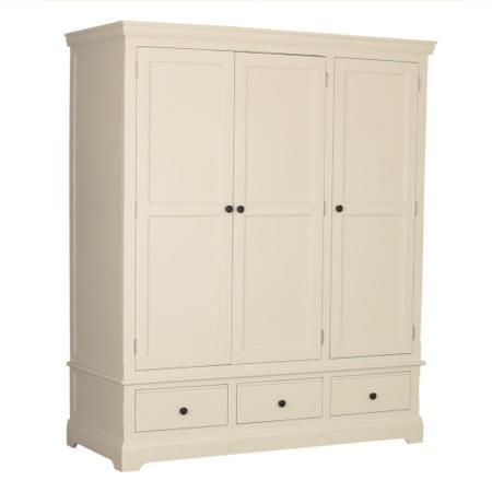 Savannah 3 Door 3 Drawer Wardrobe In Ivory Cream
