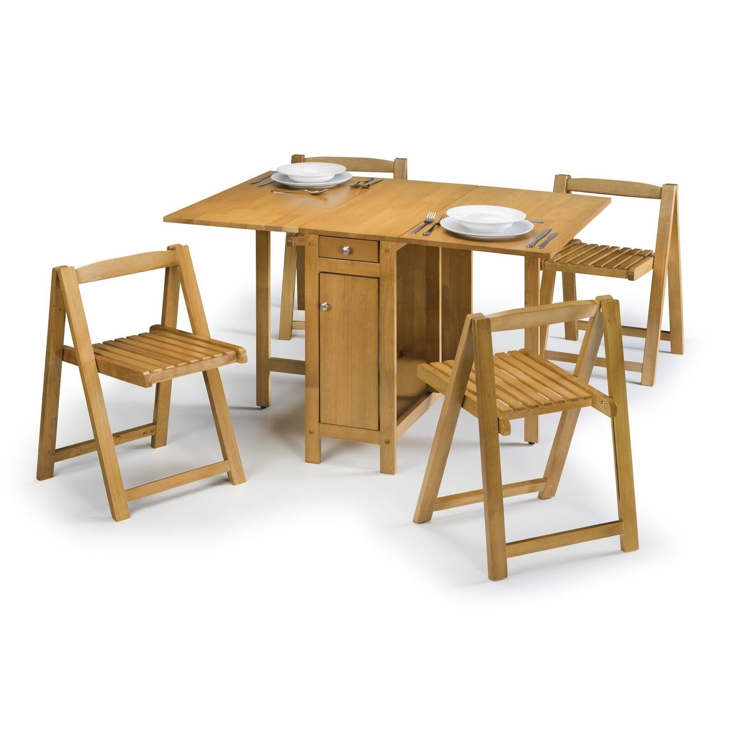 - Julian Bowen Savoy Butterfly Folding Dining Table Set In Light Oak