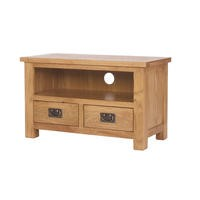 Rustic Saxon Solid Oak TV Unit