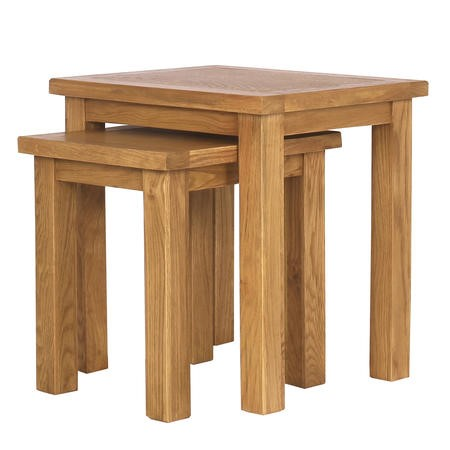 Solid Oak Nest of Tables - 2 - Rustic Saxon