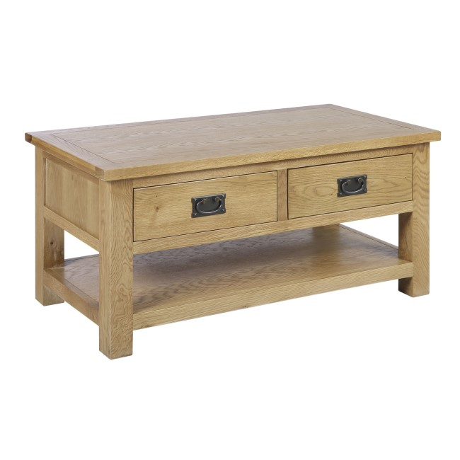 Solid Wood Coffee Table with Storage - Rustic Saxon Range
