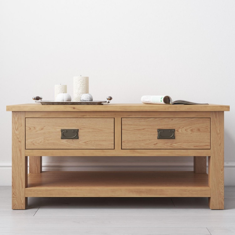 Solid Wood Coffee Table With Storage Rustic Saxon Range Furniture123