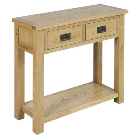 Solid Oak Console Table with Storage - Rustic Saxon