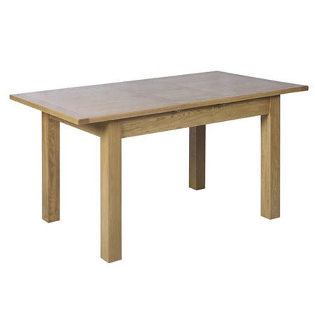 Extendable Solid Oak Dining Table - Seats 6 - Rustic Saxon